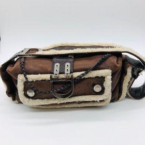Authentic DIOR shearling pilot brown shoulder bag
